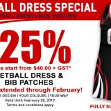 NETBALL DRESS & BIB SPECIAL: EXTENDED THROUGH FEBRUARY!